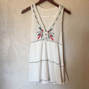 Tea & Cup White Embroidered Dress